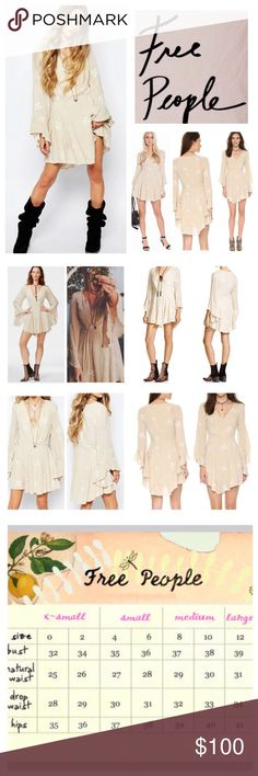 """Free People Jasmine Embroidered Mini Dress.  NWT. Free People Almond Combo Jasmine Embroidered Mini Dress, 65% rayon, 35% cotton, washable, 17"""" armpit to armpit (34"""" all around) 29"""" waist, 19"""" arm inseam, 34"""" length, an airy mini dress with a flared skirt, flouncy angel sleeves, crossover V neckline, floral embroidery stitching detail throughout, concealed side zip closure, lined, measurements are approx.  NO TRADES Free People Dresses Mini"""