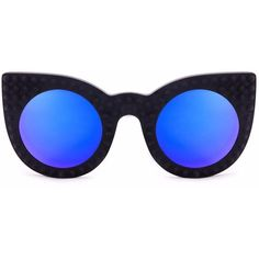 Delalle - DemiLune Bon Blue ($315) ❤ liked on Polyvore featuring accessories, eyewear, sunglasses, blue cat eye sunglasses, blue lens sunglasses, cat eye sunglasses, blue glasses and blue sunglasses