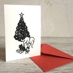 Linocut Christmas card - Lino printing - Tarjeta de Navidad Daydream, Christmas Cards, Unique Jewelry, Handmade Gifts, Prints, Etsy, Vintage, Xmas, Christmas E Cards