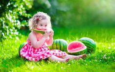 Photography Child Girl Little Girl Watermelon Grass Summer Bokeh Sunny Wallpaper