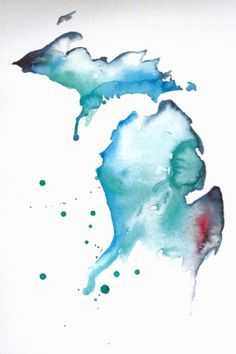 watercolor Michigan - debate for one of my tattoos. Left forearm, maybe.