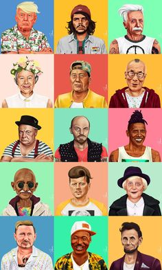 HIPSTORY - great leaders of modern times illustrated as Hipsters by Amit Shimoni.