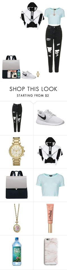 """""""Science Center Field Trip"""" by thethreetottalytweens on Polyvore featuring Topshop, NIKE, Michael Kors, 1928, Too Faced Cosmetics and Harper & Blake"""