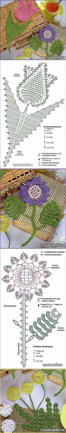 Цветы с листьями крючком   Милые мелочи