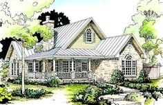 Charming traditional 2 bedroom Texas Hill Country house packs a lot into a 1,000 square foot floor plan starting with the generous front porch; 2 bedrooms and 2 bathrooms @ Houseplans.com