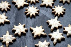 Pin for Later: 25 Cookies From Around the World Germany: Zimtsterne (Cinnamon Stars) Get the recipe: zimtsterne (cinnamon stars) Best Holiday Cookies, Best Christmas Cookie Recipe, Christmas Sweets, Christmas Goodies, Christmas Recipes, Christmas Baking, Star Sugar Cookies, Fancy Cookies, Chocolate Chip Cookies