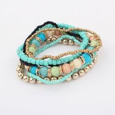 $3.17 7PCS Of Bohemian Ethnic Style Colorful Diverse Beads Bracelets For Women