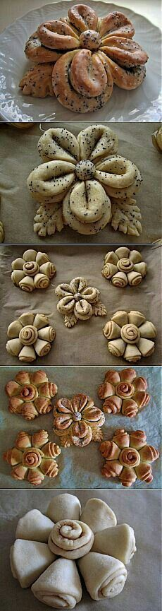 Floral Wonders of drozhevogo test: Baking sweet Pan Relleno, Bread Shaping, Bread Art, Bread And Pastries, Food Decoration, Artisan Bread, Sweet Bread, Creative Food, Food Design