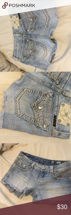 Miss Me Signature shorts One of my favorites that no longer fit as well. Perfect light wash color, with pale pink stitching and light fringe on the bottom. Great condition. Miss Me Shorts Jean Shorts