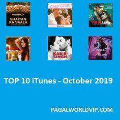 Top 10 iTunes Bollywood Charts – October 2019 Housefull 4, Bollywood Movie Songs, Neha Kakkar, Mp3 Song, Itunes, Charts, October, Music, Top