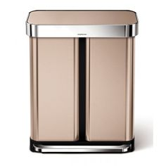 simplehuman 15 Gallon Dual Compartment Rectangular Step Trash Can with Liner Pocket, Recycler, Stainless Steel Color: Rose Gold Trash And Recycling Bin, Kitchen Trash Cans, Garbage Can, Trash Bag, Linnet, Brushed Stainless Steel, Household, Canning, Rose Gold