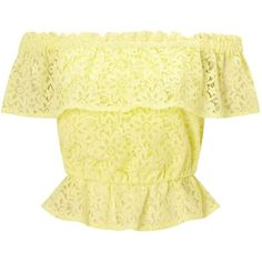 Miss Selfridge Lemon Lace Bardot Top (1.130 UYU) ❤ liked on Polyvore featuring tops, crop top, shirts, lemon, flutter-sleeve top, cropped tops, short sleeve ruffle top, ruffle crop top and flounce crop top