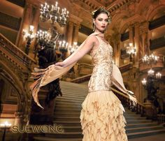 Sue Wong v-neck gown with beaded bodice and full ruffle skirt… #teamsuewong #suewong #fashion #coutureinspired #picoftheday #glamorous #colorful