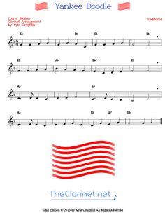 Free, printable sheet music for Yankee Doodle, arranged specifically for the clarinet. Lower and upper register versions are available. Free Clarinet Sheet Music, Printable Sheet Music, Doodles, Pdf, Printables, Print Templates, Donut Tower, Doodle, Zentangle