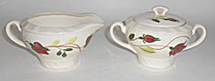 Blue Ridge Pottery Ring-o-roses Creamer/sugar Bowl Set