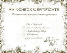 Santa Raincheck Certificate (free downloadable)