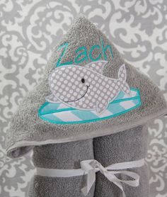Kid Hooded Towel  Shark on Surf Board by BluePeonyStitches on Etsy