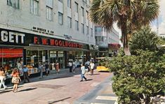 Postcard of the Woolworth store front at the famous Lincoln Road Mall in Miami Beach. | Florida Memory