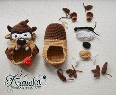 Krawka: Tasmanian Devil TAZ - baby booties PATTERN