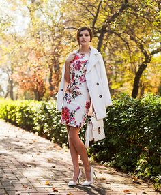 Viktoriya Sener - Light In The Box Coat, Light In The Box Floral Dress, Forever New Bag, Mango Pumps - WHITE FALL
