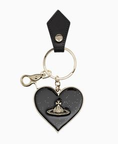 Vivienne Westwood - Mirror Heart Keycharm Gadget - Black - Accessories - Womens