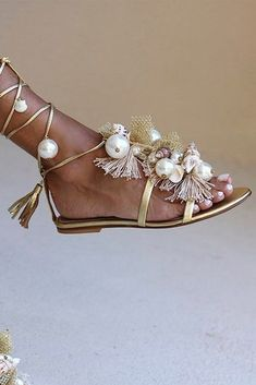 Beach Wedding Shoes, Wedding Heels, Bridal Shoes, Bridal Jewelry, Wedding Bride, Wedding Stuff, Bare Foot Sandals, Shoes Sandals, Flats