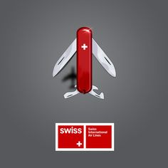 Swiss Airlines.  A great way to help people remember their brand. You definitely won't forget which airline's ad you saw.
