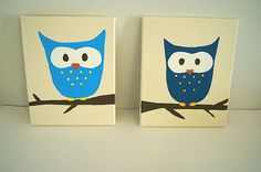 Owl PrintOwl Nursery ArtSet of Two Handmade Vintage by wildjuniper, $45.00