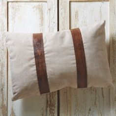 Repurposed Canvas Pillow With Leather