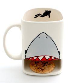 Cream Ceramic Shark Dunk Mug