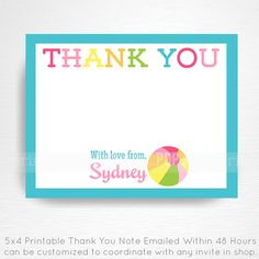 Girl Beach Ball Party Printable Thank You Note by Print POP Party This is an emailed file, nothing will be shipped to you. Please include your Beach Ball Birthday, Beach Ball Party, Ball Birthday Parties, Boy Birthday, Printable Thank You Notes, Girl Beach, Party Printables, Thank You Cards, Invitations