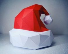 Santa Claus Hat papercraft model DIY template by PazzleDIY on Etsy Origami Paper Art, 3d Origami, 3d Paper, Paper Toys, Diy And Crafts, Arts And Crafts, Santa Claus Hat, 3d Modelle, Paper Animals