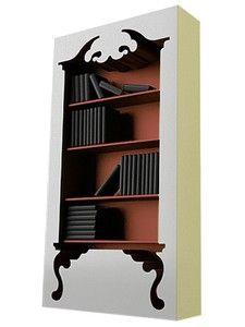 Dressing up a plain bookcase by making it look ornate, what a fantastic idea!