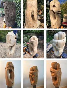 Umarmende, Skulptur aus Eiche