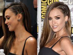 Acconciature capelli lunghi Jessica Alba: mini treccia laterale solo da un lato