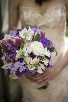 Wedding, Flowers, Bouquet, Purple - Photo by Christine Marie Photography
