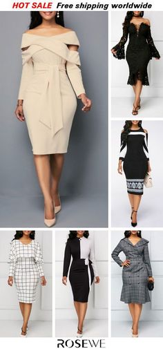 Women Dresses Classy: Zipper Back Off the Shoulder Belted Sheath Dress, party dress, fall dresses, wom. Trendy Dresses, Fall Dresses, Women's Fashion Dresses, Sexy Dresses, Cute Dresses, Church Dresses, Classy Dress, Classy Outfits, Classy Girl