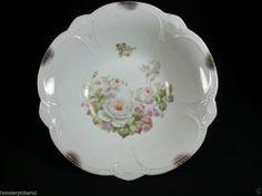 "Vintage Large Bavaria china bowl White Rose Decorative serving bowl 10 3/4"" dia."