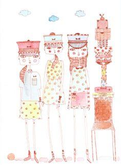 girls room art,Fashion illustration, fashion print, fashion drawing, girls print, quirky girls, polka dots, marc jacobs fashion on Etsy, $11.79 AUD