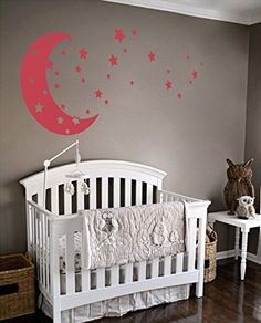 Moon and Stars Night Sky Vinyl Wall Art Decal Sticker Design for Nursery Room DIY Mural Decoration Dahlia Red 22x49 inches ** Click on the image for additional details.