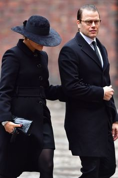 APRIL 09: Crown Princess Victoria of Sweden and Prince Daniel of Sweden leaving the city of Stockholm's official ceremony for the victims of the recent terrorist attack on April 10, 2017 in Stockholm, Sweden. Four people died and fifteen were injured after a hijacked truck crashed into the front of Ahlens department store in Stockholm on April 7, 2017.