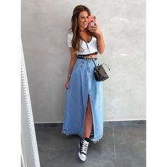 Discover recipes, home ideas, style inspiration and other ideas to try. Vintage Outfits, Classy Outfits, Casual Outfits, Summer Outfits, Denim Fashion, Look Fashion, Girl Fashion, Fashion Outfits, Long Denim Skirt Outfit