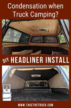 If you're truck camping without a truck shell liner, check out this post! Adding a diy shell liner or headliner to your truck camper can help eliminate condensation issues and make your interior look much nicer! Truck Shells, Truck Camper Shells, Truck Bed Camper, Pickup Camper, Diy Camper, Truck Topper Camping, Truck Cap Camping, Truck Camping, Truck Canopy