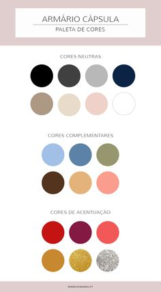 The color palette of your capsule cabinet - Capsule cabinet- A paleta de cores d. Wardrobe Color Guide, Wardrobe Basics, Capsule Wardrobe, Colour Schemes, Color Combos, Color Combinations For Clothes, Deep Winter, Soft Summer, Color Pallets