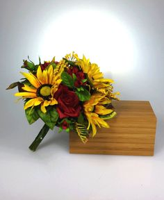 Sunflower bridal bouquet http://www.etsy.com/listing/160349940/sunflower-red-rose-bridal-bouquet