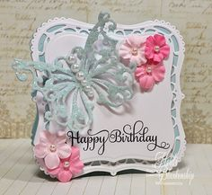 The Stamp Simply Ribbon Store - Butterfly Happy Birthday Shape Card