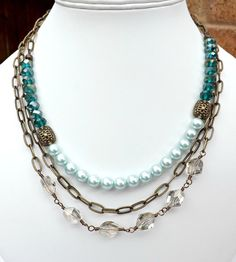 Vintage style necklace, Bronze Necklace, Pearl Necklace, Crystal Jewelry, Swarovski Elements, Turquoise,Chain Necklace,Downton Abbey Jewelry