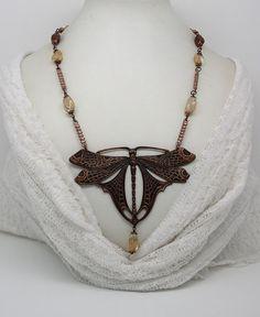 NECK 32 - Art Nouveau Necklace Dragonfly by ClassOfGlass on Etsy