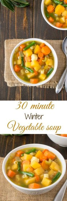 30 minute Winter vegetable soup. Colorful veggies and pasta make this a quick and delicious meal.
