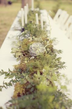 Incorporate greenery, succulents - lots you can get from your own yard. Rustic greenery and wildflower centerpiece. Photo by Sarah Kate Photographer. Forest Wedding, Woodland Wedding, Boho Wedding, Wedding Table, Floral Wedding, Wedding Flowers, Dream Wedding, Wildflower Centerpieces, Wedding Centerpieces